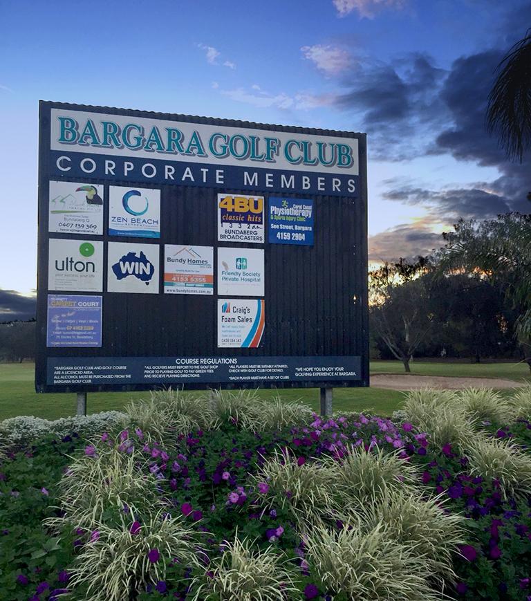 クイーンズランドジュニアゴルフチャンピオンシップ大会会場バーガラゴルフクラブサインボード